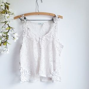 Kimchi Blue Ivory Lace Floral Top